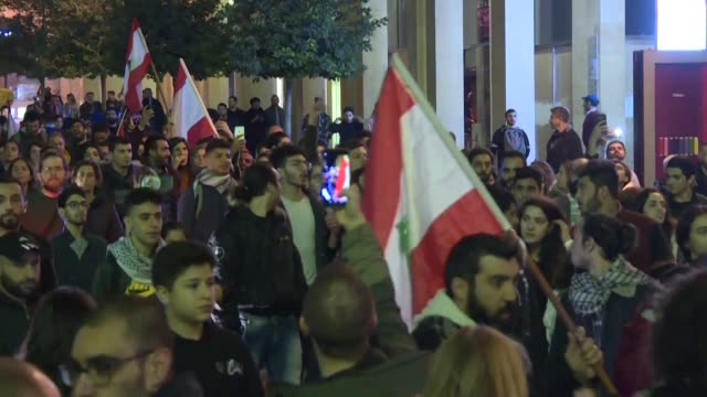 anti-government protesters in lebanon rally near the parliament headquarters in beirut as they continue to call for a complete overhaul of the... - lebanon country stock videos & royalty-free footage