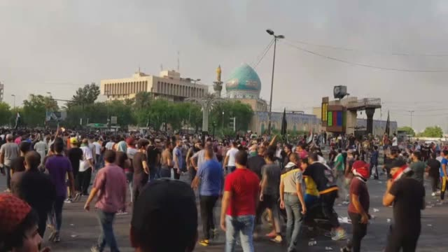 anti-government protestors took to the streets for the second day across iraq, including the capital baghdad, demanding improved living conditions... - iraq stock videos & royalty-free footage