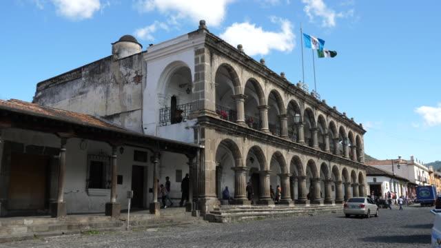 antigua, antigua guatemala municipality house - elpalacio del ayuntamiento, guatemala. - guatemala stock videos & royalty-free footage