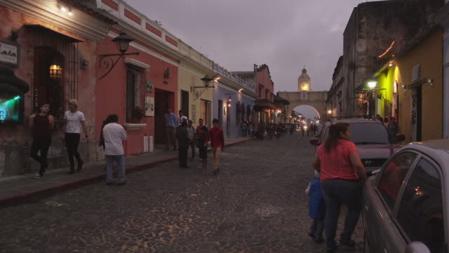 antigua guatemala at evening. santa catalina arch. - guatemala stock videos & royalty-free footage
