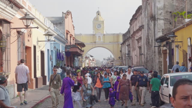 antigua guatemala famous colonial street with santa catalina arch - guatemala stock videos & royalty-free footage