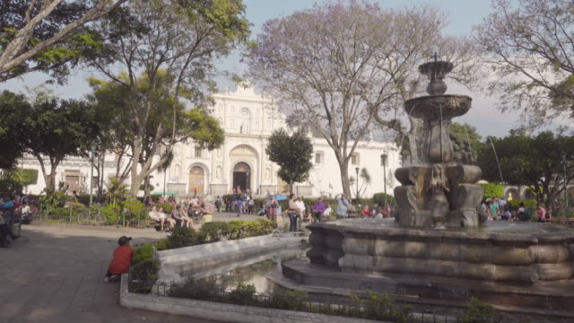 Antigua Guatemala main square with white cathedral