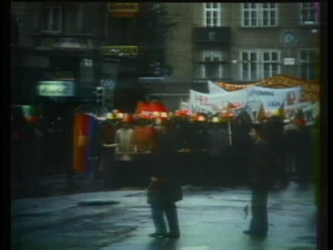 anti-nixon demonstrators march in salzburg, austria upon the american president's arrival. - (war or terrorism or election or government or illness or news event or speech or politics or politician or conflict or military or extreme weather or business or economy) and not usa stock videos & royalty-free footage