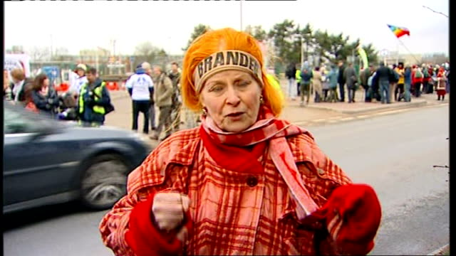antinuclear protest at aldermaston / vivienne westwood interview england berkshire aldermaston ext vivienne westwood 2way interview sot talks of... - aldermaston stock videos & royalty-free footage
