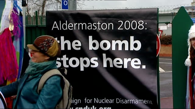 antinuclear protest at aldermaston / vivienne westwood interview england berkshire aldermaston ext antinuclear demonstrators cycling along road /... - aldermaston stock videos & royalty-free footage