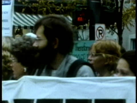 antinuclear protestors marching on the street audio / usa - kernenergie stock-videos und b-roll-filmmaterial