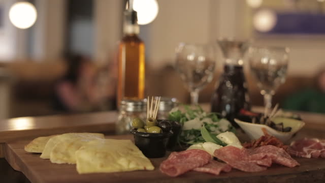 antipasti sharing platter - olive fruit stock videos and b-roll footage