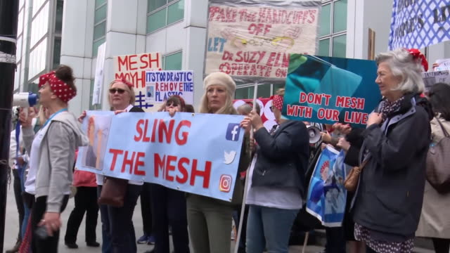 anti-pelvic mesh campaigners demonstrating after the publication of the cumberledge report - report produced segment stock videos & royalty-free footage