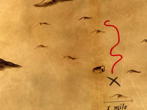 antikes animierte schatzkarte - karte navigationsinstrument stock-videos und b-roll-filmmaterial