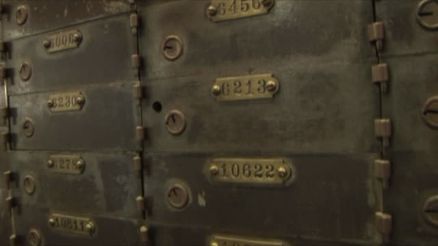 CU TU Antique bank vault and safety deposit boxes at city museum / St Louis, Missouri, USA