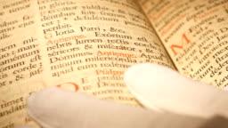 4K Antique Bible research macro shot