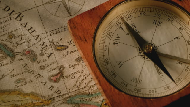 antique compass on map - antique stock videos & royalty-free footage