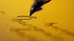 Antique Feather Fountain Pen Writing Macro