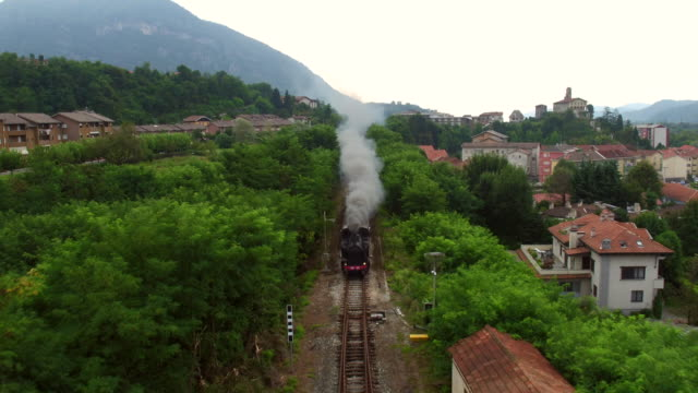 antique locomotive train in borgosesia - locomotive stock videos & royalty-free footage