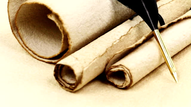 antique paper scroll with quill - spine stock videos & royalty-free footage