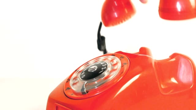 antique red phone - rotary phone stock videos and b-roll footage