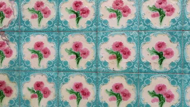 antique shophouse ceramic tile penang malaysia - tile stock videos & royalty-free footage