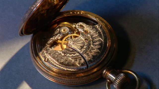 cu, antique watch mechanisms - pocket watch stock videos & royalty-free footage