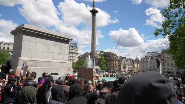antiracism demonstration gather and protest in trafalgar square on june 13 2020 in london united kingdom following a social media post by the... - square stock videos & royalty-free footage