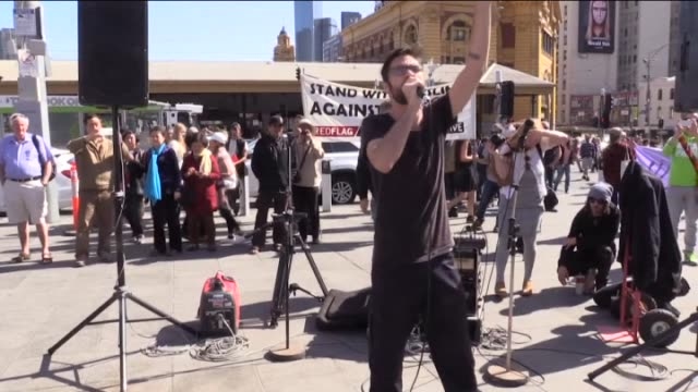 Antiracism protesters take part in the Campaign Against Racism and Fascism rally at Federation Square in Melbourne Australia on April 03 2016...