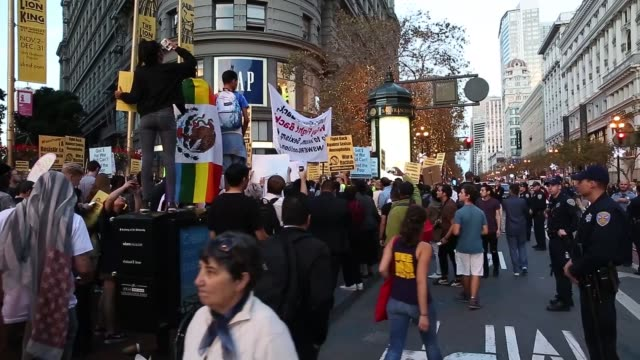 antitrump demonstrators protest on november 9 2016 in san francisco california thousands of people across the united states took to the streets in... - 2016 stock videos & royalty-free footage