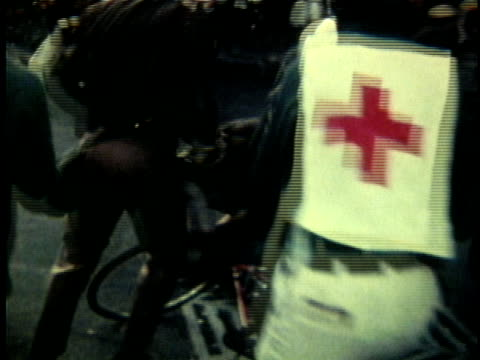anti-vietnam war protest in wake of invasion of cambodia and kent state massacre / violent demonstrations involving peace activists, red cross medic... - vietnam war stock videos & royalty-free footage