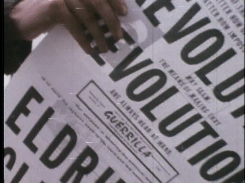 anti-vietnam war protesters distribute newspapers at rallies and demonstrations held in lincoln park during the 1968 democratic national convention... - グラントパーク点の映像素材/bロール