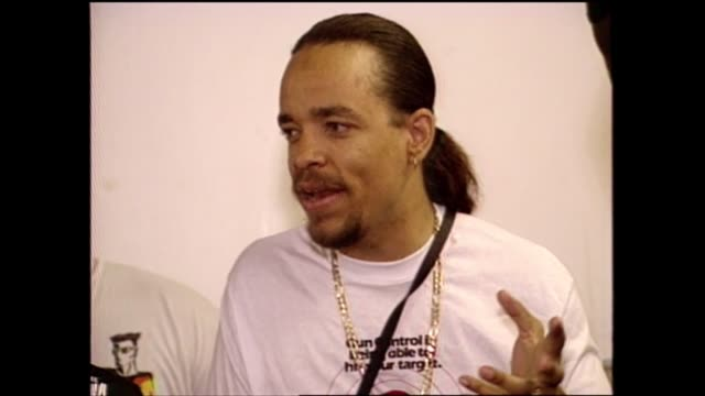 "anti-violence activist mike concepcion and rapper/actor ice-t talk about ""we're all in the same gang"" album. - producer stock videos & royalty-free footage"