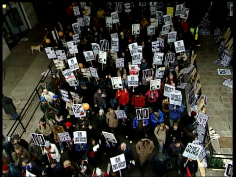 anti-war protests; england: london: embankment: ext 02.48 demonstration moves off as people along at rally, stewards with arms linked together at... - embankment stock videos & royalty-free footage