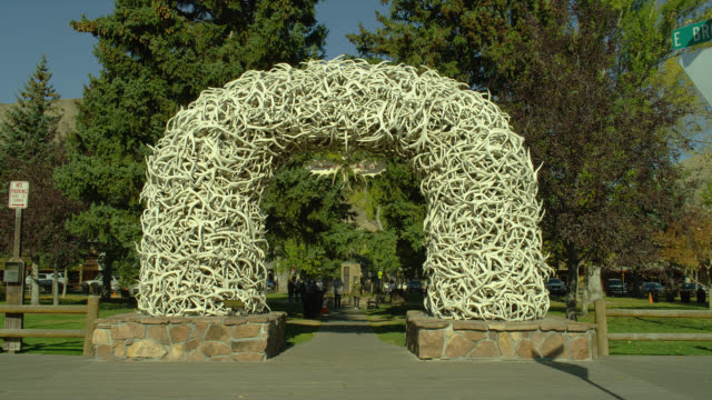 Antlers form an arched entrance to  a town square park in Jackson Hole, Wyoming.