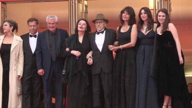 antoine sire, claude lelouch, anouk aimee, jean louis trintignant, marianne denicourt, monica bellucci, tess lauvergne on the red carpet for the... - addition key stock videos & royalty-free footage
