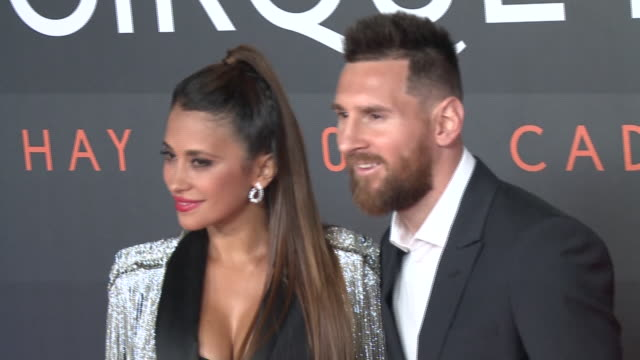 antonella rocuzzo and lionel messi attend the photocall of 'messi 10' by cirque du soleil - lionel messi stock videos and b-roll footage