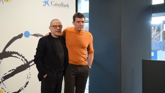antonio banderas and lluis pasqual attend teatro del soho caixabank presentation in madrid on february 6 2019 in madrid spain - entertainment occupation stock videos and b-roll footage
