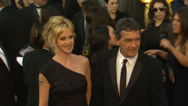 antonio banderas and melanie griffith at 84th annual academy awards arrivals on 2/26/12 in hollywood ca - neckwear stock videos and b-roll footage
