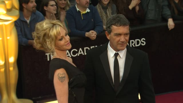antonio banderas and melanie griffith at 84th annual academy awards arrivals on 2/26/12 in hollywood ca - melanie griffith stock videos and b-roll footage