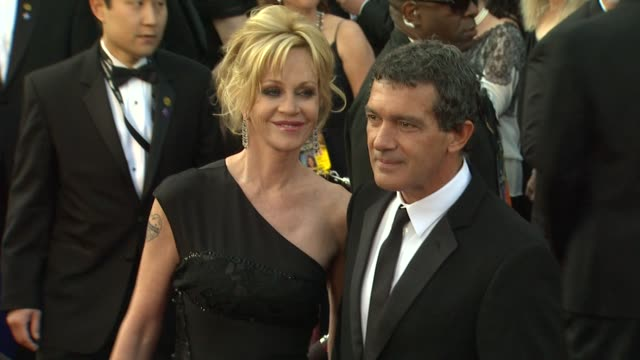 antonio banderas and melanie griffith at 84th annual academy awards arrivals on 2/26/12 in hollywood ca - antonio banderas stock videos & royalty-free footage