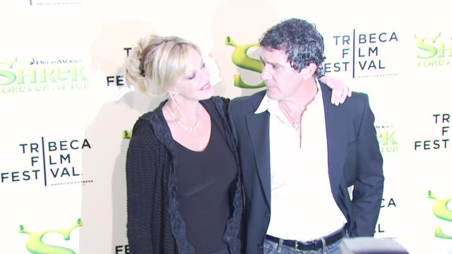 antonio banderas and melanie griffith at the 'shrek forever after' opening night premiere 9th annual tribeca film fest at new york ny - open collar stock videos and b-roll footage