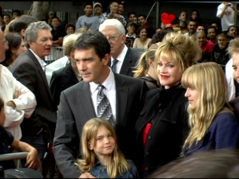 antonio banderas and melanie griffith at the 'the legend of zorro' premiere at the orpheum theatre in los angeles california on october 16 2005 - antonio banderas stock videos & royalty-free footage