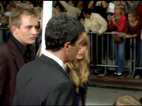 Antonio Banderas and Melanie Griffith at the 'The Legend of Zorro' Premiere at the Orpheum Theatre in Los Angeles California on October 16 2005