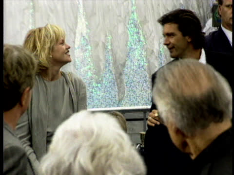 antonio banderas and melanie griffith stand outside an event - melanie griffith stock videos and b-roll footage