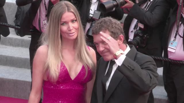 Antonio Banderas and new girlfriend Nicole Kimpel attend the Sicario red carpet during the 68th Annual Cannes Film Festival Tuesday May 19th 2015...