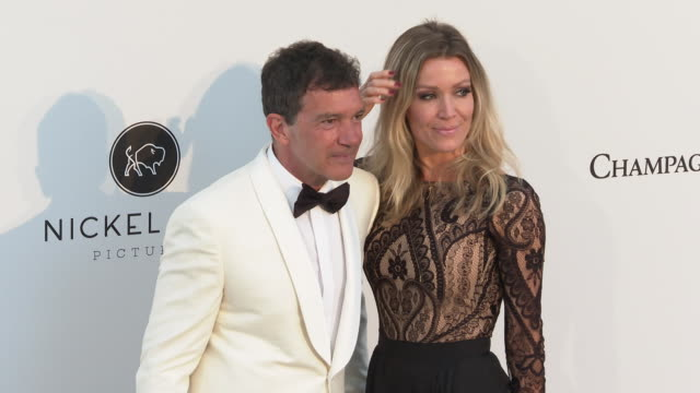 Antonio Banderas and Nicole Kimpel at the amfAR Cannes Gala 2019 Arrivals at Hotel du CapEdenRoc on May 23 2019 in Cap d'Antibes France