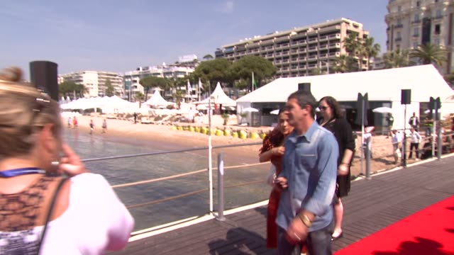 antonio banderas and salma hayek at the puss in boots launch 64th cannes film festival at cannes - antonio banderas stock videos & royalty-free footage