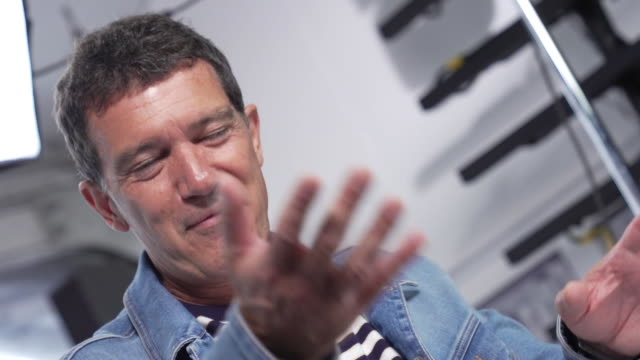 GIF Antonio Banderas at 'Pain Glory ' Interviews The 72nd Cannes Film Festival on May 18 2019 in Cannes France