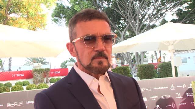 antonio banderas attends 'garcia y garcia' premiere during the 24th malaga film festival at the miramar hotel. - celeb stock videos & royalty-free footage
