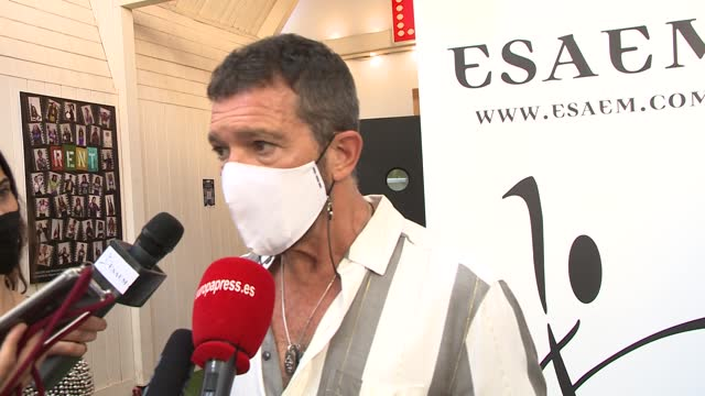 """antonio banderas attends the closing event of the esaem theater school, the representation of the musical """"rent"""". - celeb stock videos & royalty-free footage"""