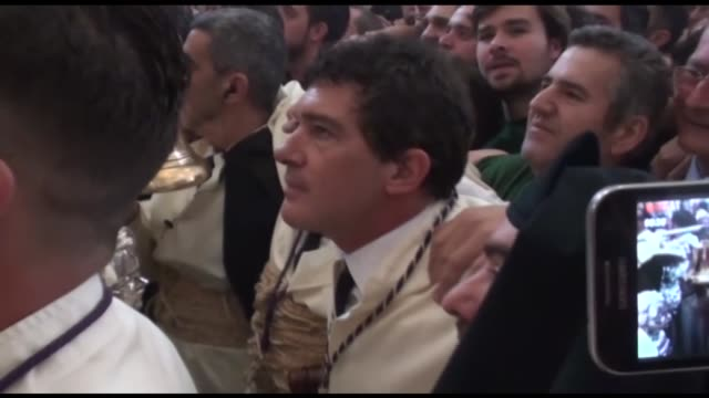 antonio banderas attends the maria santisima de lagrimas y favores procession during holy week celebration - holy week stock videos & royalty-free footage