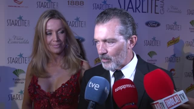 antonio banderas attends the starlite gala - gala stock videos & royalty-free footage