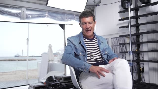 slomo antonio banderas behind the scenes at 'pain glory ' interviews the 72nd cannes film festival on may 18 2019 in cannes france - antonio banderas stock videos & royalty-free footage