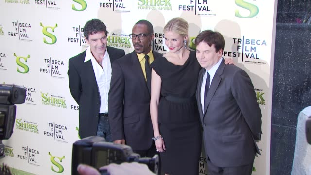antonio banderas eddie murphy cameron diaz and mike myers at the 'shrek forever after' opening night premiere 9th annual tribeca film fest at new... - mike myers actor stock videos & royalty-free footage
